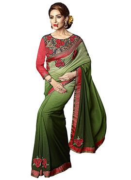 Green Georgette Ombre Dyed Border Saree