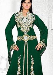 Green Georgette Plus Size Fustan Dress