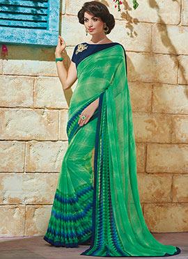 Green Georgette Printed Saree