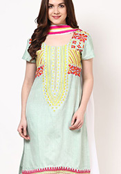 Green Hand Woven Khadi Plus Size Churidar