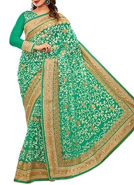 Green Heavy Embroidered Foliage Net Saree