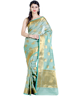 Green Khadi Linen Saree