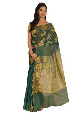 Green Kora Silk Saree