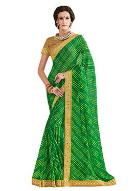 Green Leheriya Pattern Printed Saree