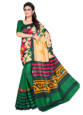 Green N Beige Art Silk Half N Half Saree