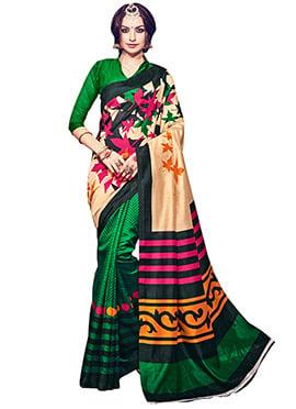 Green N Beige Bhagalpuri Silk Half N Half Saree