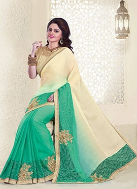 Green N Beige Embroidered Saree