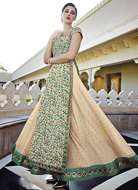 Green N Beige Embroidered Salwar Suit