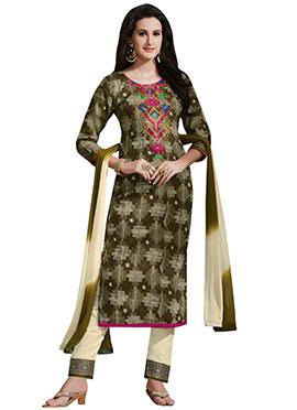 Green N Beige Satin Cotton Salwar