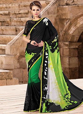 Green N Black Half N Half Saree