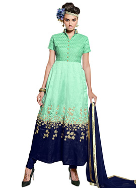 Green N Blue Art Silk Anarkali Suit