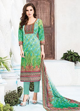 Green N Blue Cambric Cotton Straight Pant Suit