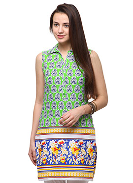 Green N Blue Cotton Casual Kurti from Home India