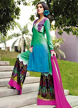 Green N Blue Embroidered Palazzo Suit