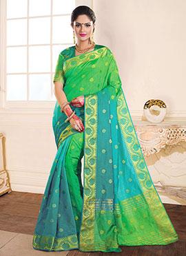 Green N Blue Tussar Silk Jacquard