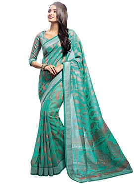 Green N Brown Brasso Patterned Saree