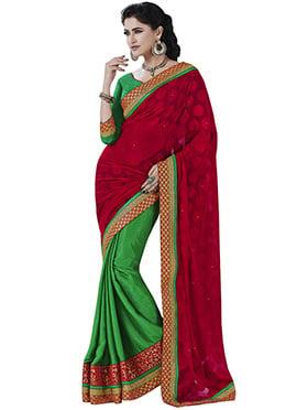 Green N Dark Red Half N Half Saree
