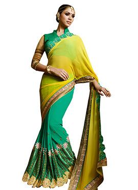 Green N Deep Yellow Half N Half Saree