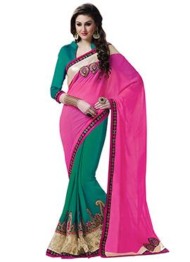 Green N Fuchsia Pink Half N Half Saree