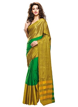 Green N Gold Blended Cotton Border Saree