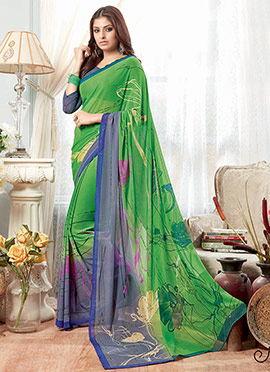 Green N Grey Georgette Saree