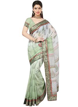 Green N Off white Fancy Cotton Saree