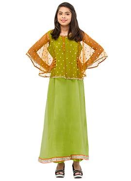 Green N Orange Teenaga Dress