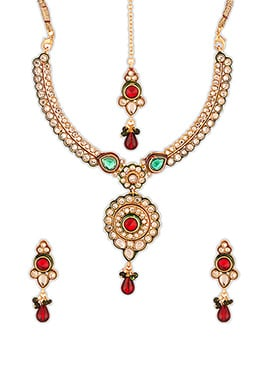 Green N Red Stone Enhanced Necklace Set