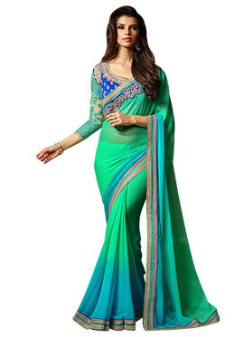 Green N Sky Blue Ombre Georgette Border Saree
