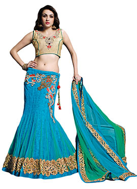 Green N Turquoise Blue Fish Cut Lehenga Choli