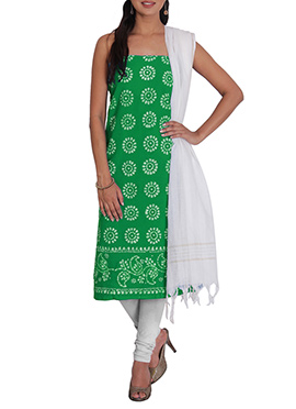 Green N White Cotton Printed Churidar Suit