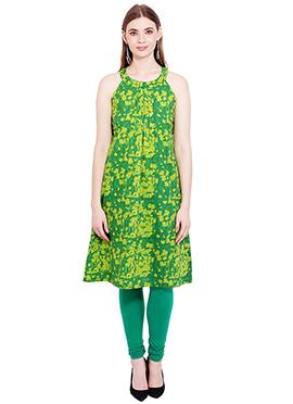 Green N Yellow Georgette Kurti