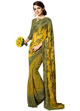 Green N Yellow Half N Half Saree