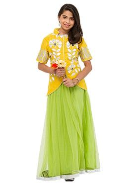Green N Yellow Net Teenage Lehenga Choli