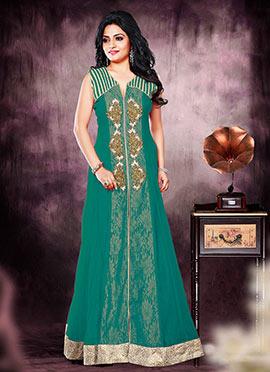 Green Net Anarkali Suit