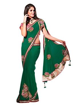 Green Net Border Saree