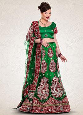 Green Net Embroidered A Line Lehenga Choli