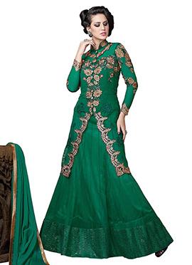 Green Net Long Choli Lehenga