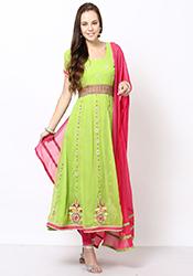 Green Georgette Plus Size Anarkali Suit