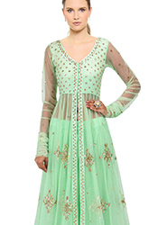 Green Net Plus Size Long Choli Lehenga