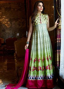 Green Ombre Art Silk Floor Length Anarkali Suit