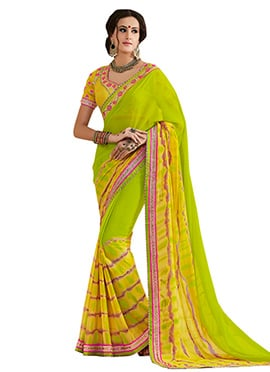 Green Ombre Leheriya Pattern Saree