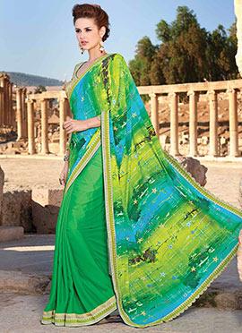 Green Printed Half N Half Saree