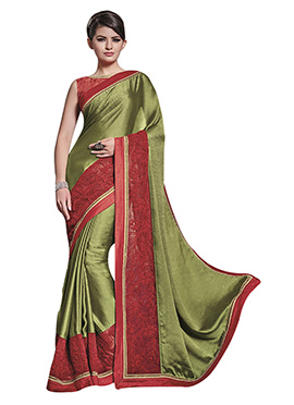 Green Resham Embroidered Saree