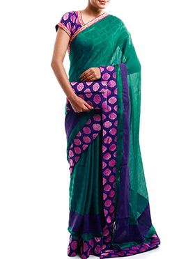 Green Satin chiffon Designed Border Saree