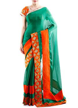 Green Satin Chiffon Designed Border Saree