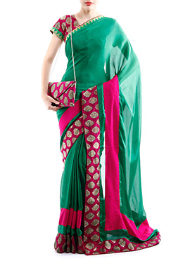 Green Satin Designed Border Saree