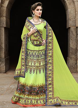 Green Satin Handwork Printed Lehenga Choli
