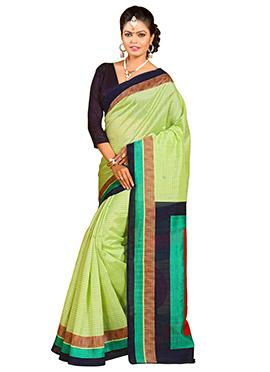 Green Shade Bhagalpuri Silk Saree