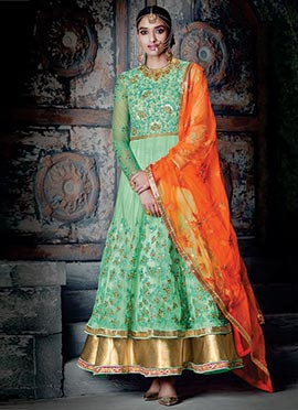 Green Shade Embroidered Anarklai Suit